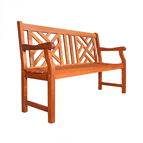 VIFAH Malibu Natural Wood 4 Foot Outdoor Patio Garden Contoured Back Bench VFH-V445E