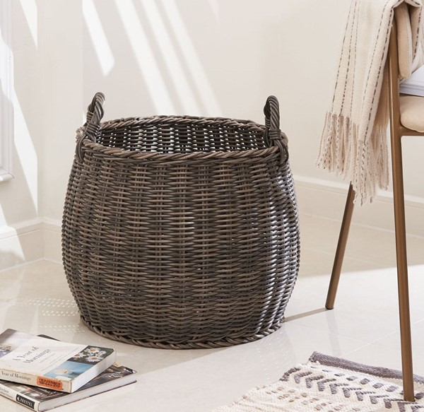 VIFAH Valeria Gray Brown 15 Inch Round Plant Pot Basket with Handles VFH-V50020-M