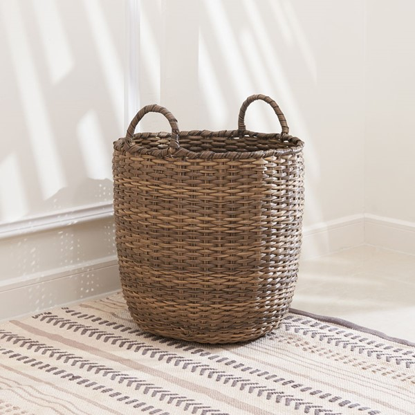 VIFAH Lucia Dark Brown 13 Inch Storage Plant Pot Basket with Handles VFH-V50023-M