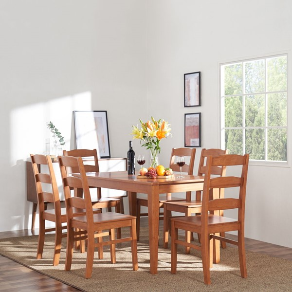 VIFAH Elsmere Light Red Alder Indoor 7pc Ladderback Dining Set VFH-V804SET4