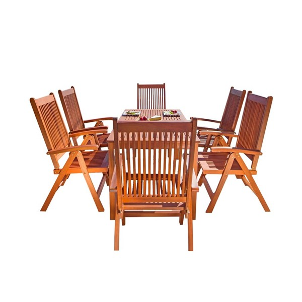 VIFAH Malibu Natural Wood Reclining Chairs Outdoor Patio 7pc Dining Set VFH-V98SET21