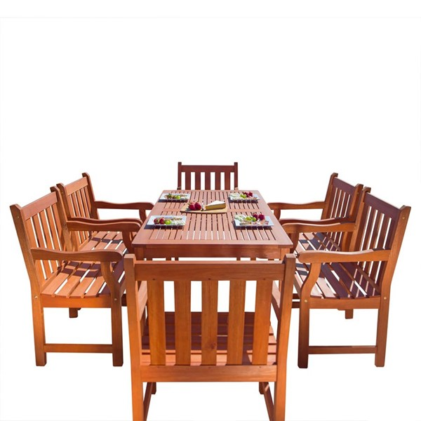 VIFAH Malibu Natural Wood Contoured Back Outdoor Patio 7pc Dining Set VFH-V98SET26