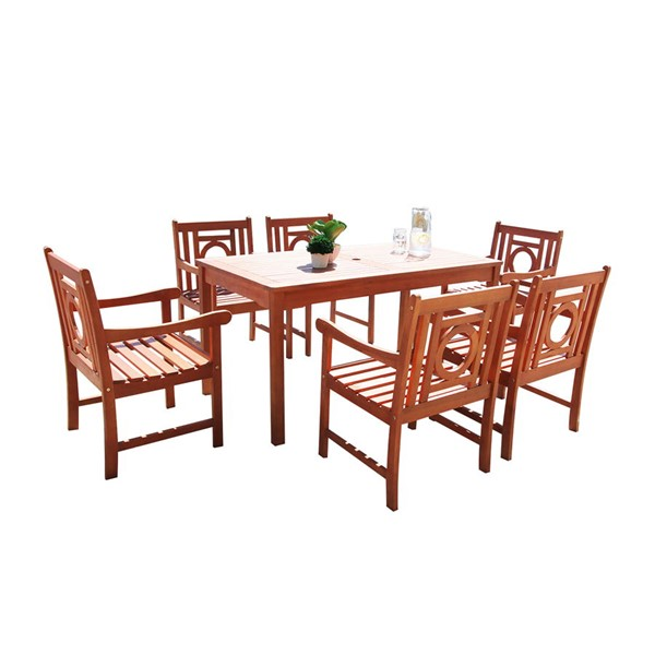 VIFAH Malibu Natural Wood Decorative Back 7pc Dining Outdoor Patio Set VFH-V98SET41