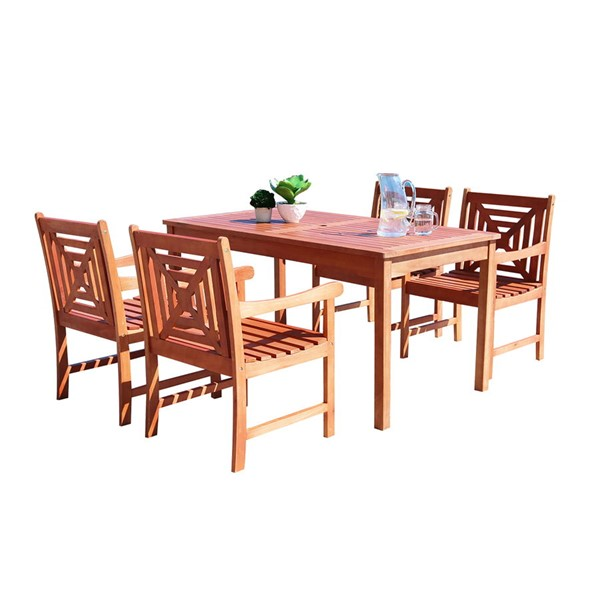 VIFAH Malibu Natural Wood 5pc Rectangle Outdoor Patio Dining Set VFH-V98SET42