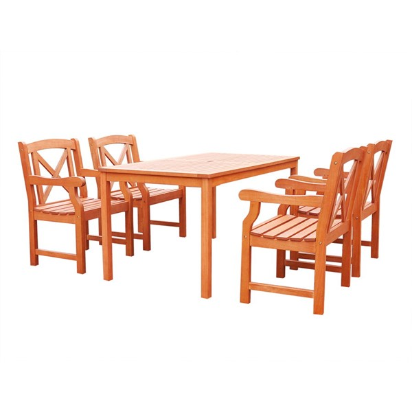 VIFAH Malibu Natural Wood 5pc Outdoor Dining Set VFH-V98SET48