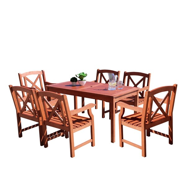 VIFAH Malibu Natural Wood 7pc Outdoor Dining Set VFH-V98SET49