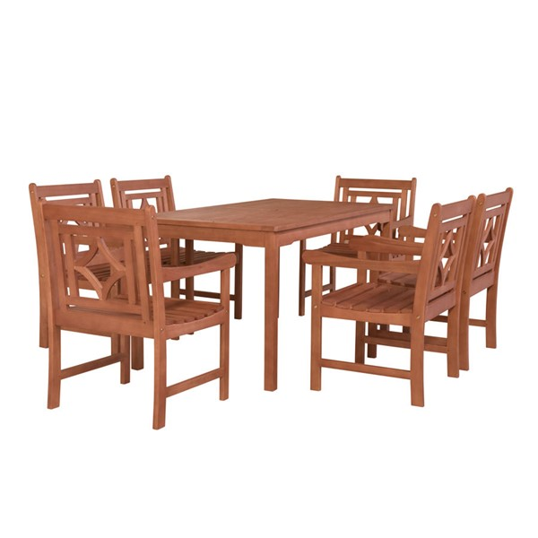 VIFAH Malibu Natural Wood Rectangular Table Outdoor Patio 7pc Dining Set VFH-V98SET65