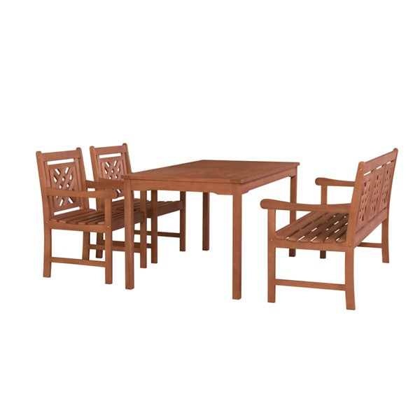 VIFAH Malibu Natural Wood Decorative Back Outdoor Patio 4pc Dining Set VFH-V98SET75