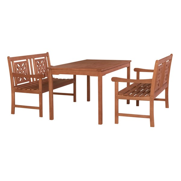 VIFAH Malibu Natural Wood Rectangle Table 3pc Outdoor Patio Dining Set VFH-V98SET76