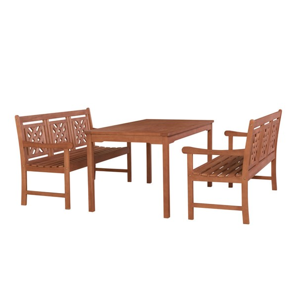 VIFAH Malibu Natural Wood Rectangular Table Outdoor Patio 3pc Dining Set VFH-V98SET77