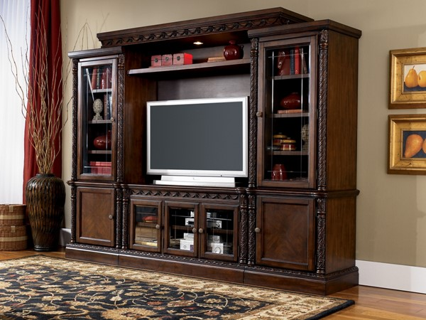 North Shore Traditional Dark Brown Wood Glass Entertainment Center W553