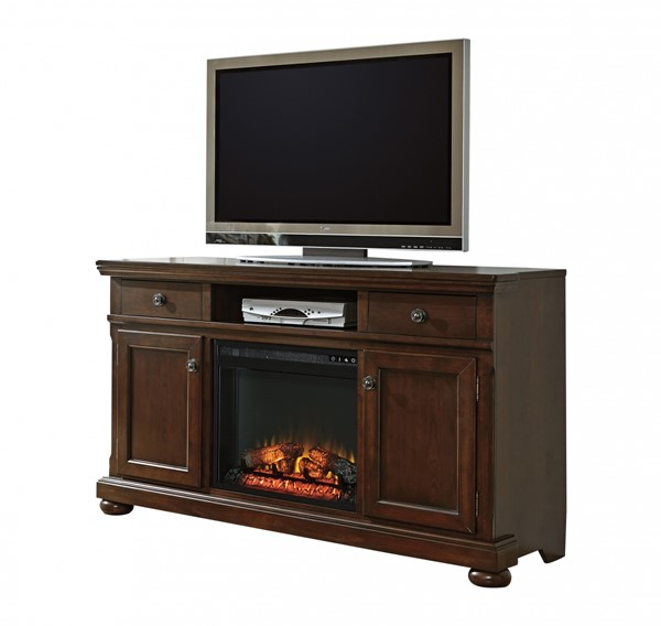 Ashley Furniture Porter Brown Xl Tv Stand With Fireplace