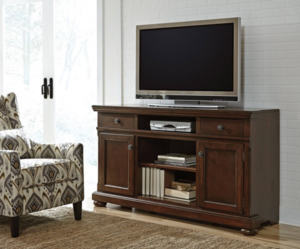 Porter Casual Brown Wood Adjustable Shelf XL TV Stand W697-132