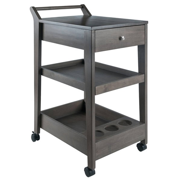 Winsome Jeston Oyster Gray Solid Wood Entertainment Cart WNS-16526