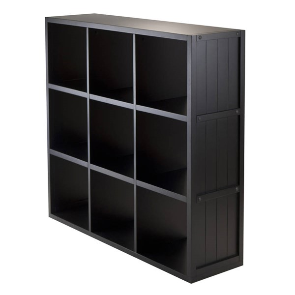 Winsome Timothy Black Wood Wainscoting Panel 9 Shelf Cube WNS-20040