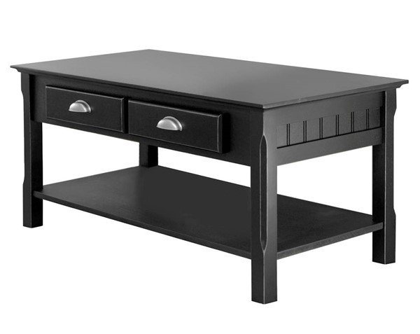 Winsome Timber Black Solid Wood Drawers and Shelf Coffee Table WNS-20238