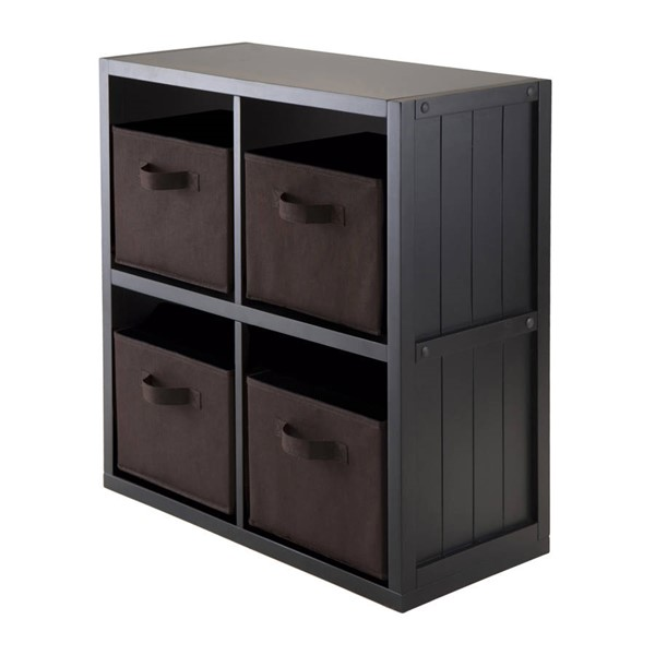 Winsome Timothy Black Wood 5pc Wainscoting Panel Shelf with 4 Chocolate Fabric Baskets WNS-20452