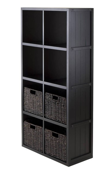 Winsome Timothy Black 5pc Wainscoting Panel Shelf Cube with 4 Foldable Baskets WNS-20453