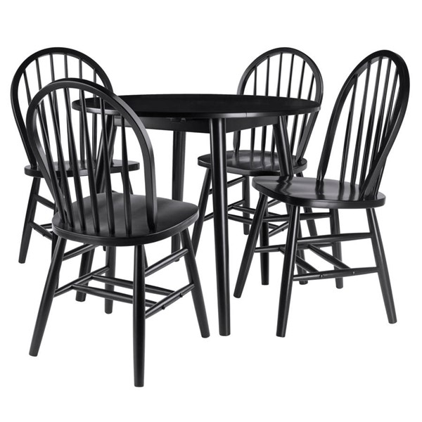 Winsome Moreno Black Solid Wood Drop Leaf 5pc Dining Table Set WNS-20536