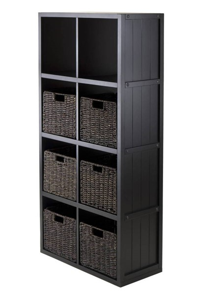 Winsome Timothy Black 7pc Wainscoting Panel Shelf Cube With 6 Foldable Baskets WNS-20653