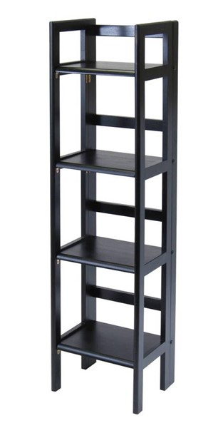 Winsome Terry Black Solid Wood Folding Bookcase WNS-20852