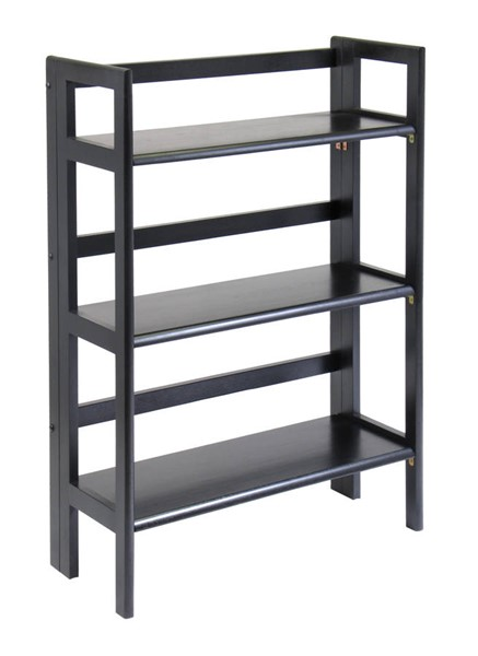 Winsome Terry Black Solid Wood 3 Shelf Folding Bookcase WNS-20896