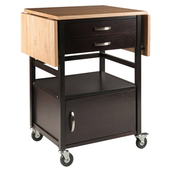 Winsome Bellini Natural Coffee Solid Wood Kitchen Cart WNS-23343