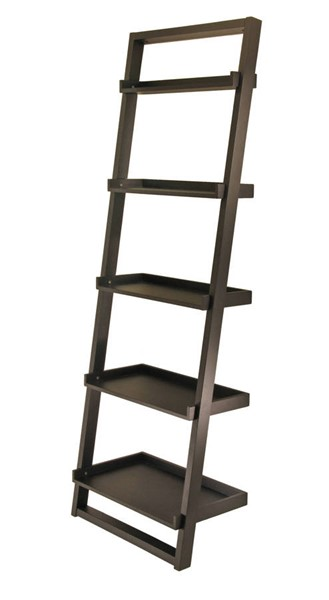 Winsome Bailey Black Solid Wood 5 Tier Leaning Shelf WNS-29525