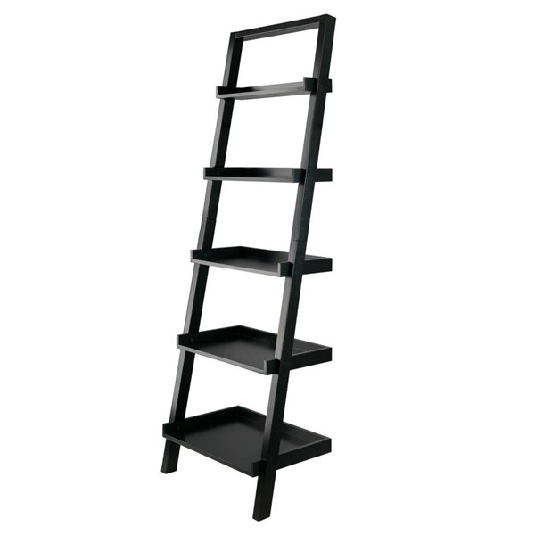 Winsome Bellamy Black Solid Wood Leaning Shelf WNS-29553