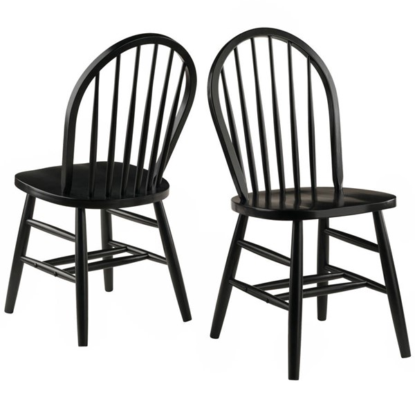 2 Winsome Windsor Black Solid Wood Dining Chairs WNS-29836