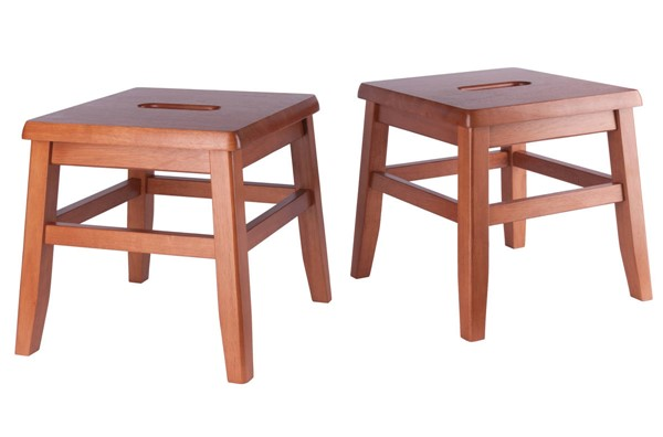 2 Winsome Kaya Teak Solid Wood Conductor Stools WNS-33210