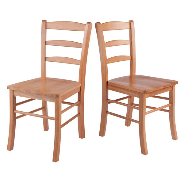 2 Winsome Benjamin Light Oak Solid Wood Ladder Back Chairs WNS-34232