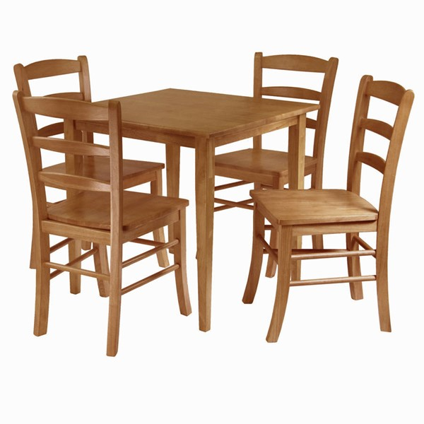 Winsome Groveland Light Oak Solid Wood Square 5pc Dining Room Set WNS-34530