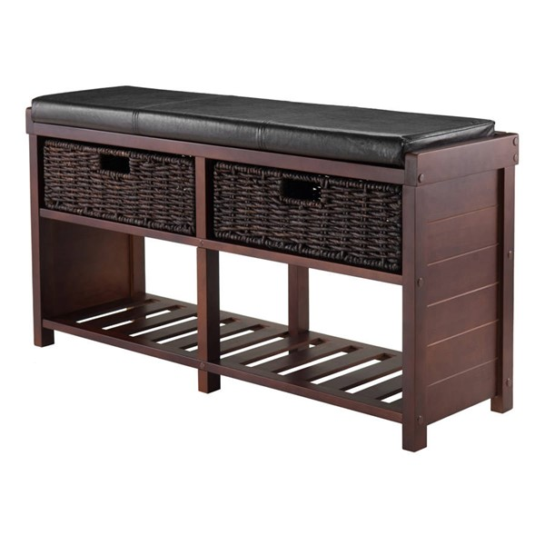 Winsome Colin Cappuccino Solid Wood Cushion Bench with Baskets WNS-40438