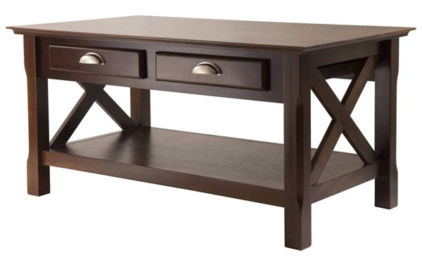 Winsome Xola Cappuccino Solid Wood 2 Drawers Coffee Table WNS-40538