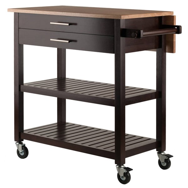 Winsome Langdon Cappuccino Natural Solid Wood Kitchen Cart WNS-40826