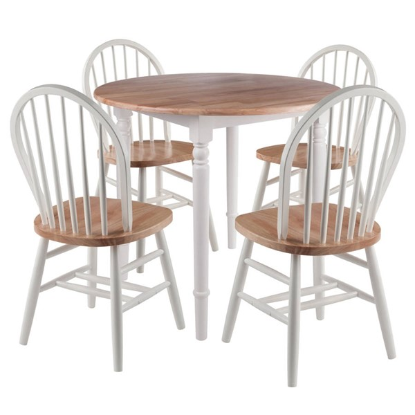 Winsome Sorella Natural White Solid Wood Round Drop Leaf 5pc Dining Room Set WNS-53536