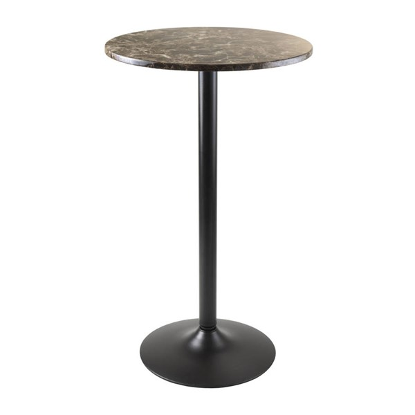 Winsome Cora Black Metal Faux Marble Round Bar Height Pub Table WNS-76124