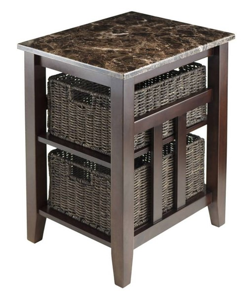 Winsome Zoey Chocolate Solid Wood Faux Marble Side Table with 2 Baskets WNS-76320