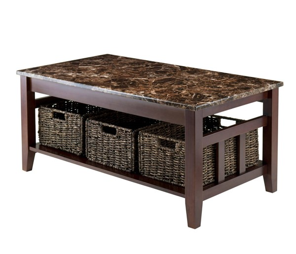 Winsome Zoey Chocolate Solid Wood Faux Marble Coffee Table WNS-76337