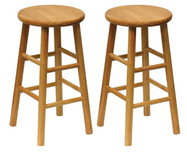 2 Winsome Tabby Natural Solid Wood 24 Inch Bar Stools WNS-81784