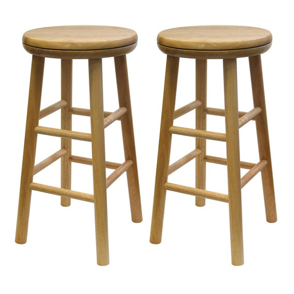 2 Winsome Oakley Beech Solid Wood 24 Inch Swivel Seat Bar Stools WNS-88824