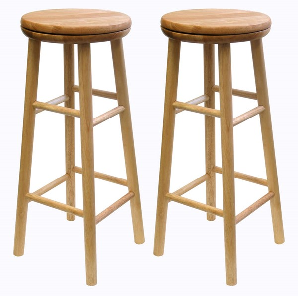 2 Winsome Oakley Beech Solid Wood 30 Inch Swivel Seat Bar Stools WNS-88830