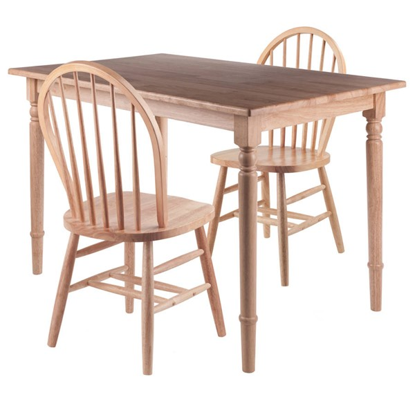 Winsome Ravenna Natural Solid Wood 3pc Dining Table Set WNS-89336