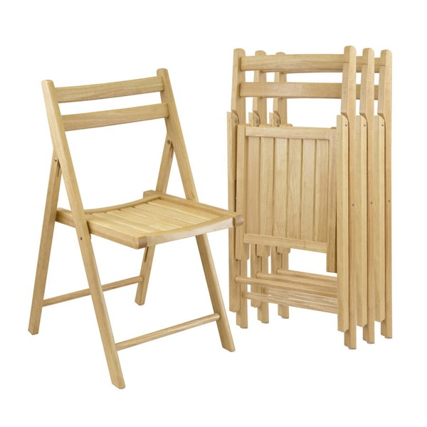4 Winsome Robin Beech Solid Wood Folding Chairs WNS-89430