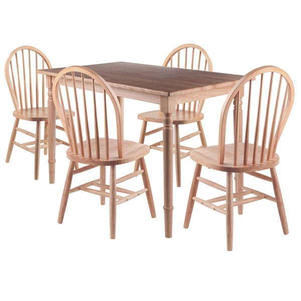 Winsome Ravenna Natural Solid Wood 5pc Dining Table Set WNS-89536