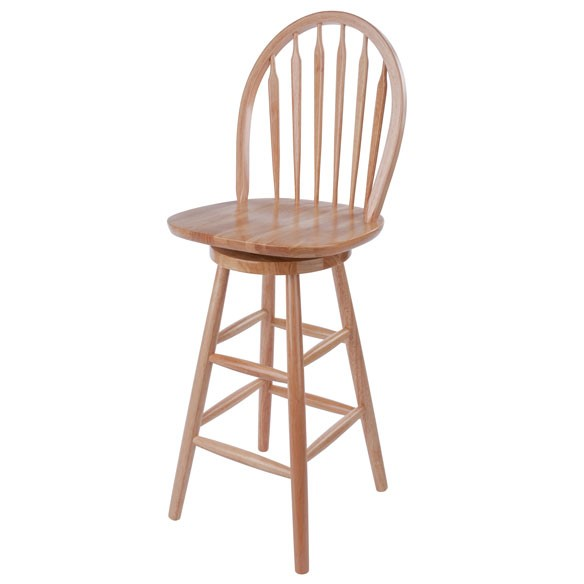 Winsome Wagner Beech Solid Wood 24 Inch Arrow Back Windsor Swivel Seat Bar Stool WNS-89624