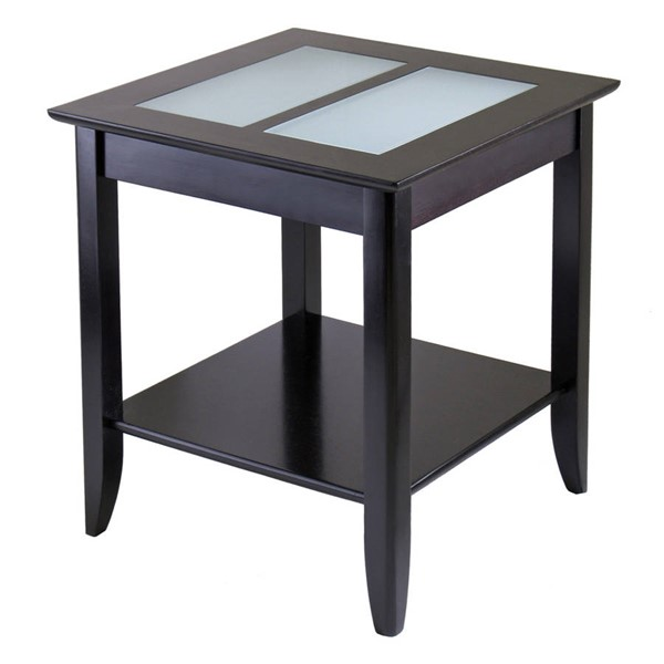 Winsome Syrah Dark Espresso Solid Wood End Table with Frosted Glass WNS-92122