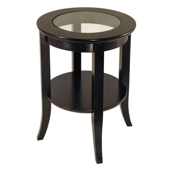 Winsome Genoa Dark Espresso Solid Wood Glass One Shelf End Table WNS-92218