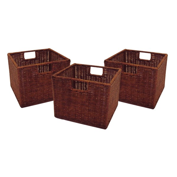 3 Winsome Leo Antique Walnut Rattan Small Wired Baskets WNS-92310